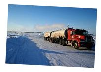 In the Northwest Territories of Canada, people cleverly travel over the ice that covers the land much of the year instead of building costly roads which could be used only rarely.    #ice roads, #trucking #Canada