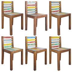Set of 6 Vintage Industrial Dining Chairs Handmade Reclaimed Boat Wood Industrial Dining Chairs, Solid Wood Dining Chairs, Upholstered Dining Chairs, Dining Chair Set, Wooden Furniture, Dining Room Furniture, Wood Online, Different Types Of Wood, Love Your Home