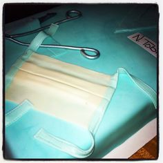 Surgical Tech Cake-- white cake with cream cheese filling