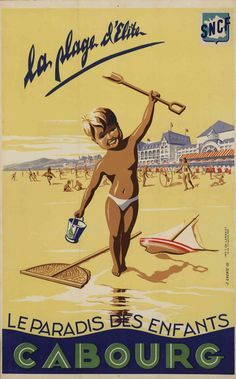 Vintage train poster for Cabourg beach, France.