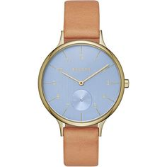 Skagen Anita Sub Eye Leather Watch ($155) ❤ liked on Polyvore featuring jewelry, watches, brown, fashion accessories, skagen watches, skagen wrist watch, water resistant watches, leather wrist watch and leather watches