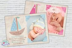 Baby Announcement Blue or Pink Sailboat Nautical Announcement Photo Birth Announcement baby photography card on Etsy, $15.00