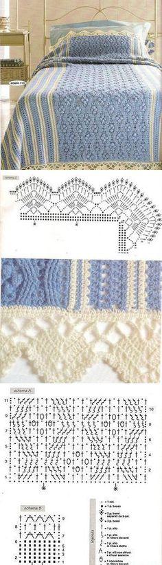 Шикарный плед-покрывало со схемами. Плед для кровати вязаный крючком | Домоводство для всей семьи