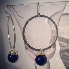 Lapis Lazuli Circle Earrings from NyxStudioArt Circle Earrings, Pearl Earrings, Lapis Lazuli, Nyx, Diy Art, Silver Plate, Plating, Jewellery, Pearls