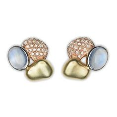 """Paul Morelli """"Pebble"""" Triple Clip Earrings    """"Pebble"""" triple clip earrings, """"summer"""" version, mounted in 18k yellow, pink and white gold, set with cognac diamonds weighing approximately 1.00 total carats and two oval-shaped moonstones. Clip backs with posts. 20mm at widest point. Handcrafted in Philadelphia. Designed by Paul Morelli."""