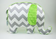 Lime green Nursery Decor, Elephant Pillow, organic cotton, gray chevron elephant, modern nursery