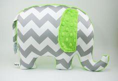 Lime green Nursery Decor, Elephant Pillow, organic cotton, gray chevron elephant, modern nursery