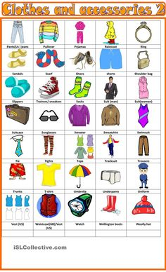 Clothes and accessories : pictionary 2 Suits For Women, Mens Suits, English Clothes, Visual Dictionary, Wooly Hats, Wellington Boot, English Vocabulary, Learn English, Notes
