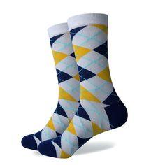 Match-Up Colorful Cotton Socks Wedding Gift Socks Argyle Socks, Grey Socks, Funky Socks For Men, Yellow Socks, Happy Socks, Fashion Socks, Cotton Socks, Knitting Socks, Socks Men