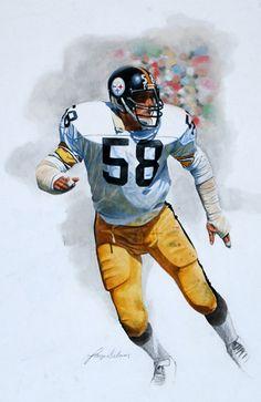 Jack Lambert, Pittsburgh Steelers by Larry Selman Rams Aaron Donald jersey Pitsburgh Steelers, Pittsburgh Steelers Football, Pittsburgh Sports, Football Art, Football Helmets, Vintage Football, Sport Football, College Football, Football Players