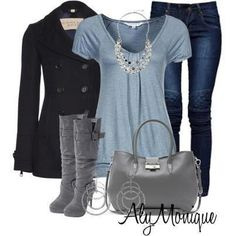 #15 ~ blue jeans, light blue top, boots, & peacoat