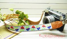 retro colorful flower camera strap