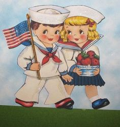 Vintage WWII Patriotic Children's Book Illustration.