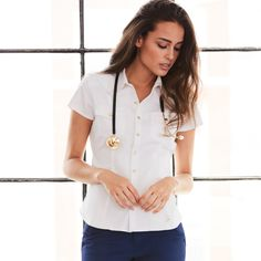 The Western Top is now on sale! This piece has functional chest pockets and side entry pockets with hidden snap closures for added security. Medical Scrubs, Nursing Scrubs, Dental Uniforms, Western Tops, Scrub Life, Scrub Tops, Doctors, Brittany, Sexy