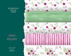 by KoelschArtLab on Etsy Leaf Clipart, Digital Scrapbook Paper, Scrapbook Designs, Peony Flower, Pink Peonies, Textile Prints, Planner Stickers, Print Patterns, Pattern Design