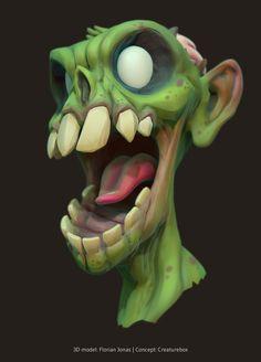 Bust of a zombie, Florian Jonas on ArtStation at https://www.artstation.com/artwork/LZlL0