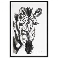 """new art & finds - Snyder-Phillips """"Zeena"""" - Framed Sumi Ink Painting Ink Painting, Watercolor Art, Sumi Ink, Jonathan Adler, Zebras, Modern Wall Art, Animal Paintings, Zebra Print, Painting Techniques"""