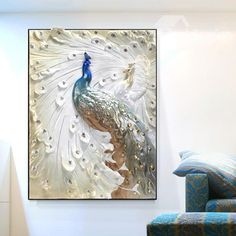 Delicate Three-dimensional Sculpture Peacock Framed Wall Art Prints