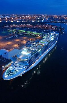 Cruise ships really come alive when they are lit up at night!
