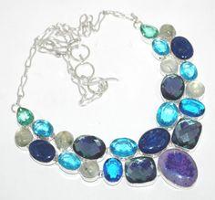 "Blue Topaz, Sodalite, Mystic Topaz Necklace - 20"""
