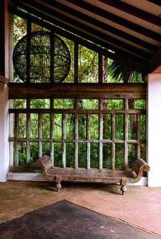 Lunuganga, the home of modernist architect Geoffrey Bawa. Located on the west coast of Sri Lanka.