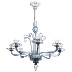 Chandelier Murano Glass Attributed to Venini, 1930s | 1stdibs.com
