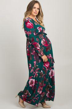 e54ff4b1e1052 Teal Floral Sash Tie Plus Wrap Maxi Dress Maxi Wrap Dress, Floral Maxi Dress ,
