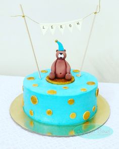 Cake for lil Lerons 1st birthday  #teddy