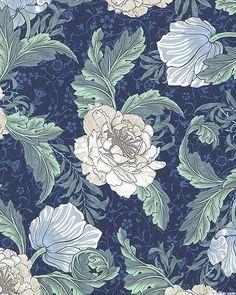 Morris - Spring Floral Grace - Delft Blue