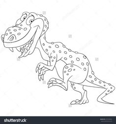 Coloring page. Cartoon tyrannosaurus. T-rex dinosaur. Vector illustration for kids and children.