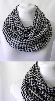 Black and White Houndstooth Infinity Scarf/ Chiffon Lightweight/ Fall scarf/ by Zaleon