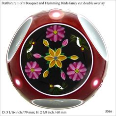 Perthshire 1 of 1 double overlay bouquet paperweight with 3 aventurine humming birds The Paperweight People (ref. 5546)