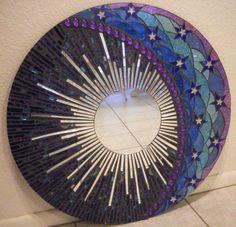 "Another mosaic mirror by Valerie Watson, 23.5"" diameter."