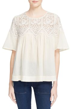 Sea Embroidered Fishnet Yoke Cotton Top available at #Nordstrom