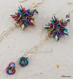 Byzantine Stars Earrings, featuring rainbow anodized niobium and sterling silver; an oldie, but a very sweet goodie:-)