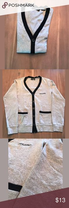 Used! DSQUARED2 Men's Cardigan DSQUARED2 Cardigan, Size XL. Has been worn many times and features small hole near neckline and has much piling, as seen in photo. DSQUARED Sweaters Cardigan