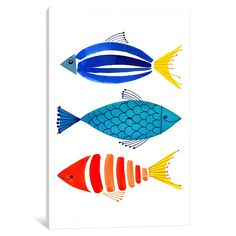 Amanti Art Summer Fish Trio 19 x 25 gerahmter Kunstdruck - drawing Pinterest Pinturas, Art Encadrée, Artist Art, Fish Design, Fish Art, Fish Wall Art, Painting Inspiration, Sketchbook Inspiration, Journal Inspiration