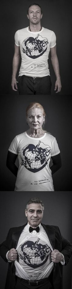 """UK fashion designer Vivienne Westood teamed up with Greenpeace and photographer Andy Gotts to photograph celebrities, including Chris Martin and George Clooney, wearing """"Save the Arctic"""" t-shirts. Westwood: """"People don't realize how quickly we are marching towards a possible mass extinction. . . Once the global temperature goes up beyond two degrees, you can't stop it. Current predictions are that we will see a rise of 4 to 6C"""" #SaveTheArctic"""