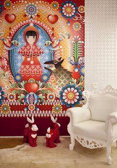 Espacio creado por distribuidor de papeles de pared en Brasil: Wallpaper  http://wallpaper.com.br/novo/     INSPIRAÇÃO SEM LIMITES... By Carolina Caiuby: Painéis Catalina Estrada