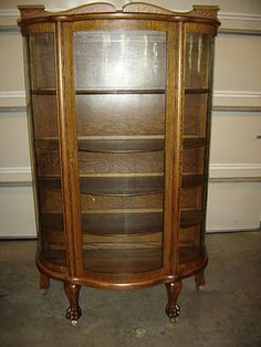 Rare Vintage Tiger Oak Curved Glass Display Cabinet In