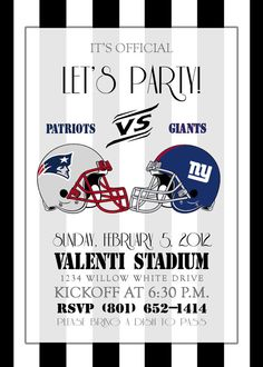 Super Bowl party printable invitation