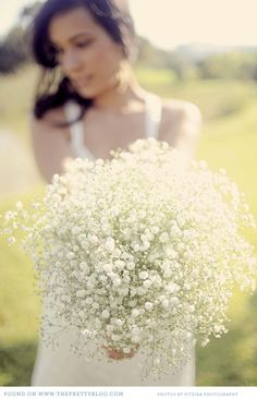 Baby's Breath Bouquet. This is one one of the most simple, yet elegant looks you can do very inexpensively. Dress it up with gorgeous ribbon and you have a stunning bouquet!