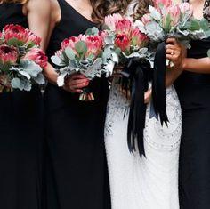 Modern Red Black Wedding - flowers