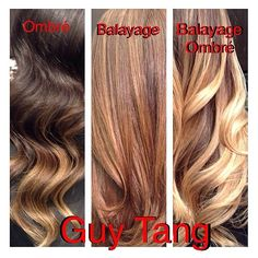 Perfect explanation via @guy_tang  Difference between ombré, balayage and balayage ombré.