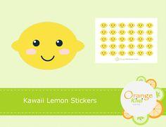 Kawaii Lemon Stickers Lemon Stickers Fruit Stickers Planner