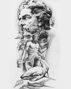 Zeus Tattoo, Statue Tattoo, 4 Tattoo, Grey Tattoo, Black Tattoos, Tattoo Design Drawings, Tattoo Sleeve Designs, Tattoo Sketches, God Tattoos