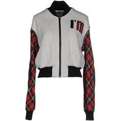 I'm Isola Marras Sweatshirt (£161) ❤ liked on Polyvore featuring tops, hoodies, sweatshirts, light grey, colorful sweatshirts, long sleeve sweatshirt, multi color tops, zipper top and logo sweatshirts