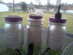 Silver Mason Jars | Ball Mason Jar Bathroom Set   SILVER AND PURPLE   Soap