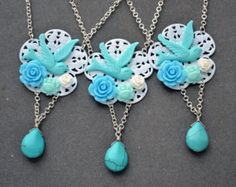 Turquoise bridesmaid necklace aqua blue rose bridesmaid gift Necklace bird wedding Jewelry drop pendant beadwork statement free earrings set
