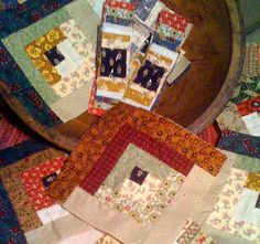 Log Cabin: Hand Quilting using Cindy Blackburg's template stamps, pattern & ink.